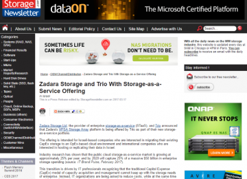 Storage Newsletter.com – Zadara & Trio cloud